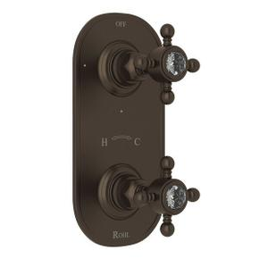 1/2 Inch Thermostatic and Diverter Control Trim - Tuscan Brass with Crystal Cross Handle