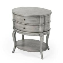 View Product - With polished curves and subtle finesse, this transitionally styled table has a sleek,functional design that suits almost every decor. Featuring a Grey finish and two drawers with antique brass-finished hardware plus a bottom shelf, this classic table is a beautiful chairside or bedside addition.