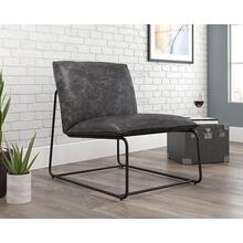 Faux Leather Accent Chair with Black Metal