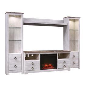 See Details - Willowton 5 Piece Entertainment Set W/Fireplace Insert Whitewash