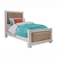 Twin Upholstered Bed - Distressed White Finish