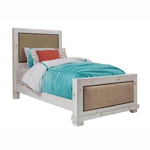 Gallery - Twin Upholstered Bed - Distressed White Finish