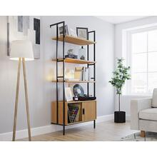 4-Shelf Wall-mounted Bookcase with Door