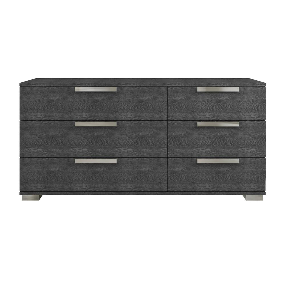 The Hampton Dresser In High Gloss Dark Gray Marbled Melamine With Chrome Trim