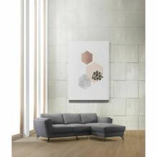 ACME Beckett Sectional Sofa - 57155 - Contemporary - Fabric, Stainless Steel Leg, Frame: Wood ( ), Foam (D 30KGMS/M3, Back Loose Fiber) - Gray Fabric