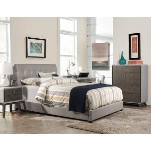 Lusso Twin Bed Set - Gray Pu Faux Leather