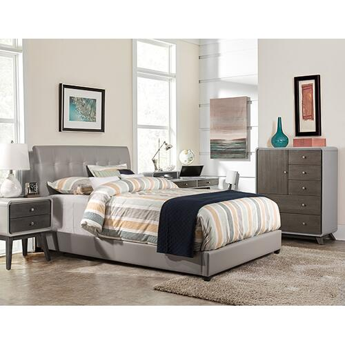 Gallery - Lusso Twin Bed Set - Gray Pu Faux Leather