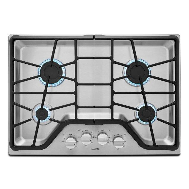 Maytag 30-inch Wide Gas Cooktop with Power Burner Stainless Steel