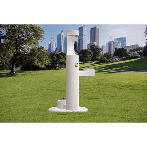 Elkay - Elkay Outdoor EZH2O Bottle Filling Station Bi-Level, Pedestal with Pet Station Non-Filtered Non-Refrigerated White