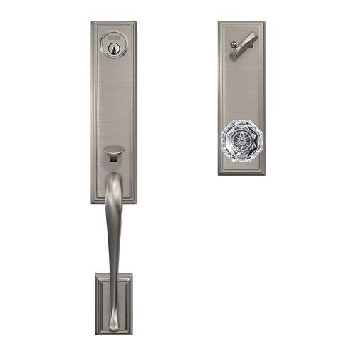 Custom Addison 3/4 Trim Single Cylinder Handleset with Alexandria Glass Knob - Satin Nickel