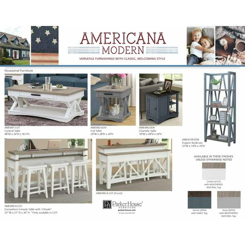 AMERICANA MODERN - COTTON Everywhere Console with 3 Stools