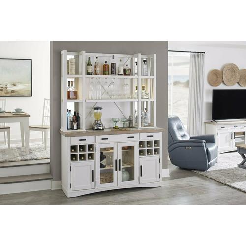 Gallery - AMERICANA MODERN DINING 2pc 66 in. Buffet / Bar Open Hutch with quartz insert