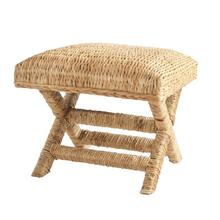 """Product Image - 20"""" Square x 18""""H Woven Water Hyacinth & Wood Stool"""