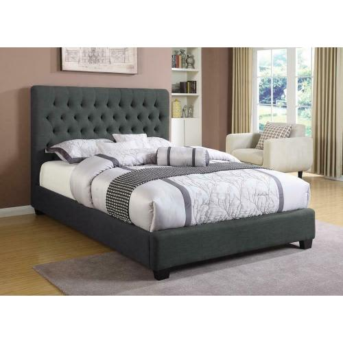 Chloe Transitional Charcoal Upholstered Full Bed