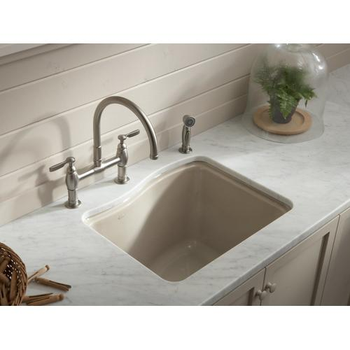 "Sea Salt 25"" X 22' X 14-15/16"" Undermount Utility Sink With 4 Faucet Holes"