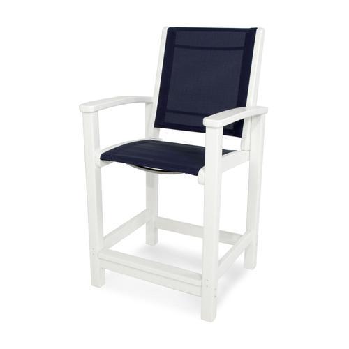 White & Navy Blue Coastal Counter Chair