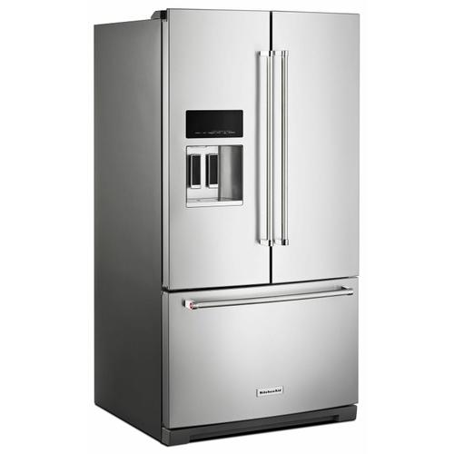 KitchenAid - 26.8 cu. ft. 36-Inch Width Standard Depth French Door Refrigerator with Exterior Ice and Water and PrintShield™ finish - Stainless Steel with PrintShield™ Finish