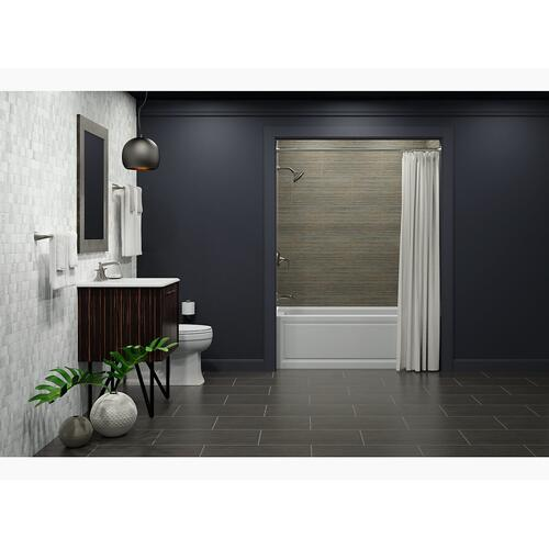 "Black Black 60"" X 30"" Alcove Bath With Integral Apron, Integral Flange and Left-hand Drain"