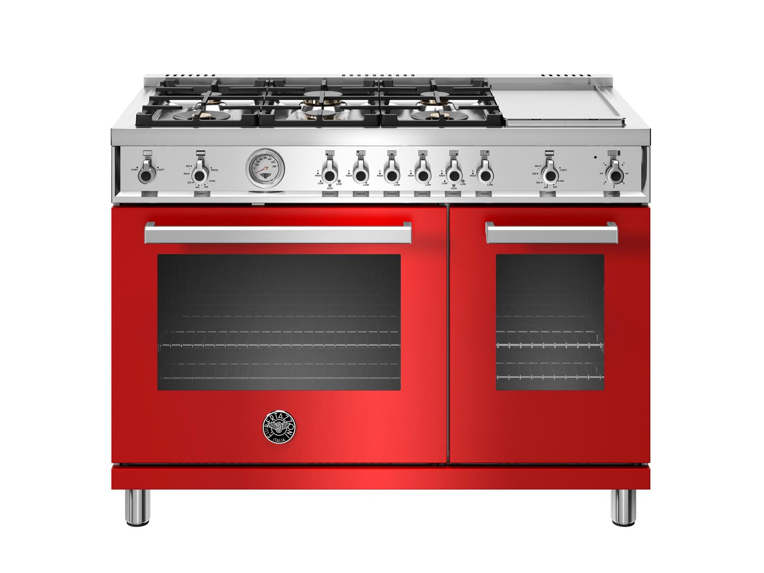 Bertazzoni48 Inch All-Gas Range 6 Brass Burner And Griddle Rosso