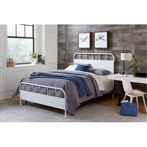 Grayson King Metal Bed, Textured White