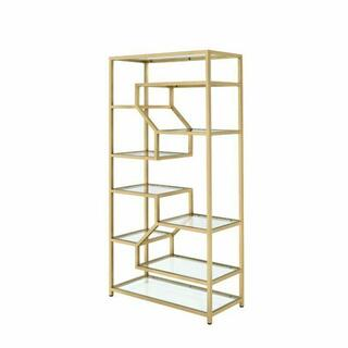 ACME Lecanga Bookshelf - 92480 - Clear Glass & Gold