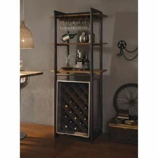 ACME Brancaster Stemware Rack - 70436 - Oak & Antique Black