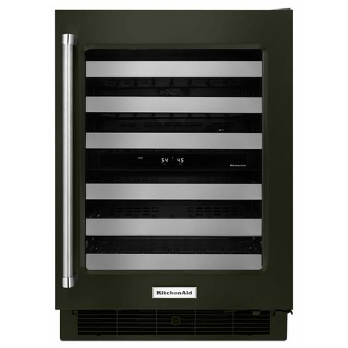 """KitchenAid - 24"""" Stainless Steel Wine Cellar with Metal-Front Racks - Black Stainless Steel with PrintShield™ Finish"""
