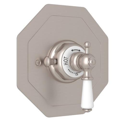 Satin Nickel Perrin & Rowe Edwardian Octagonal Concealed Thermostatic Trim Without Volume Control with Edwardian Metal Lever
