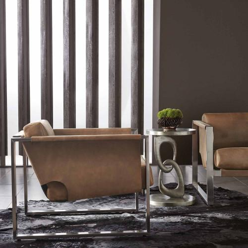 Linea Metal Round Chairside Table in Textured Graphite Metal (384)