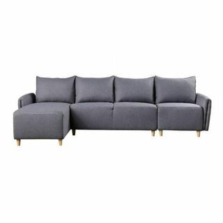 ACME Marcin Sectional Sofa - 51830 - Contemporary - Fabric, Plastic Leg, Frame: Wood (Hardwood+Ply), Foam (D), Metal Henglin Hook - Gray Fabric