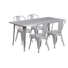 31.5'' x 63'' Rectangular Silver Metal Indoor-Outdoor Table Set with 4 Stack Chairs