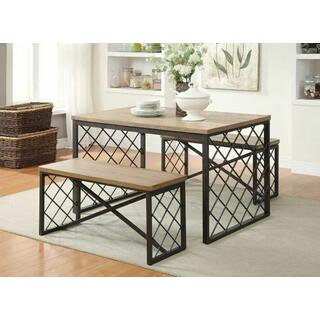 ACME Catalina 3Pc Pack Dining Set - 71655 - Light Oak & Gray