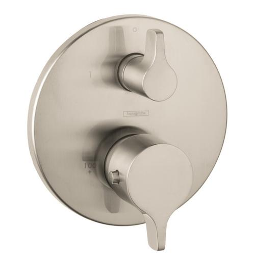 Brushed Nickel Thermostatic Trim S/E with Volume Control and Diverter