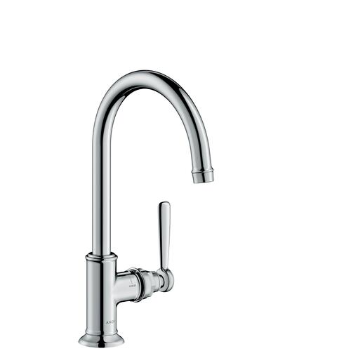 Polished Black Chrome Single lever basin mixer 210 with lever handle and waste set
