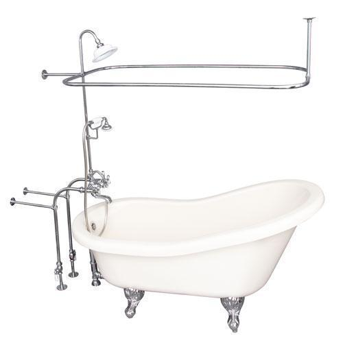 """Fillmore 60"""" Acrylic Slipper Tub Kit in Bisque - Polished Chrome Accessories"""