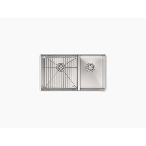 """33"""" X 22"""" X 9-5/16"""" Top-mount/undermount Large/medium Double-bowl Kitchen Sink With Single Faucet Hole"""