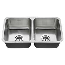 See Details - American Standard Undermount 32x18 Double Bowl Sink - Stainless Steel