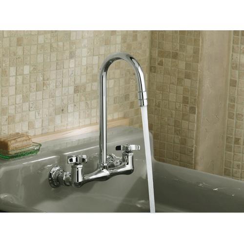 Polished Chrome Double Cross Handle Utility Sink Faucet With Gooseneck Spout