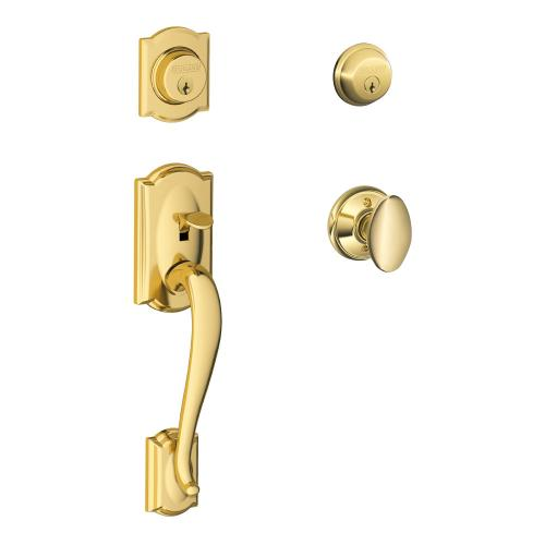Camelot Double Cylinder Handleset and Siena Knob - Bright Brass