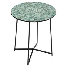 """Product Image - 15-3/4"""" Round x 18-1/2""""H Metal Table w/ Mosaic Glass Top, Green, KD"""