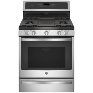 "GE Profile™ 30"" Smart Dual-Fuel Free-Standing Convection Range with Warming Drawer Product Image"