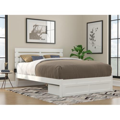Atlantic Furniture - Oxford Queen Bed with Foot Drawer and USB Turbo Charger in White
