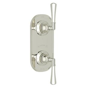 San Giovanni Trim for 1/2 Inch Thermostatic and Diverter Control Rough Valve - Polished Nickel with Metal Lever Handle
