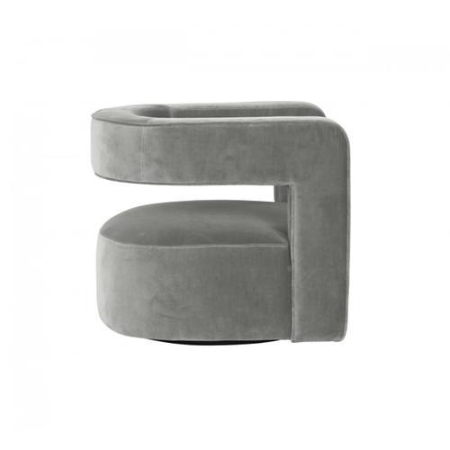VIG Furniture - Modrest Fanny - Modern Swivel Grey Velvet Accent Chair