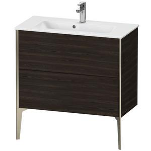 Vanity Unit Floorstanding Compact, Brushed Walnut (real Wood Veneer)