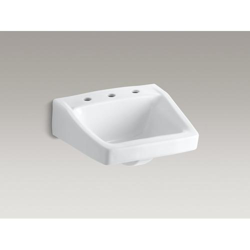 """White 19-1/4"""" X 17-1/4"""" Wall-mount/concealed Arm Carrier Bathroom Sink With 8"""" Widespread Faucet Hole"""