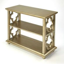 See Details - With its open quatrefoil sides, two shelves and open back, this timeless, classic bookcase brings heirloom appeal to the office or living room. Features an striking Silver Leaf finish.