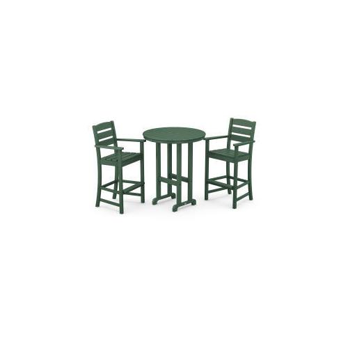Polywood Furnishings - Lakeside 3-Piece Round Bar Arm Chair Set in Green