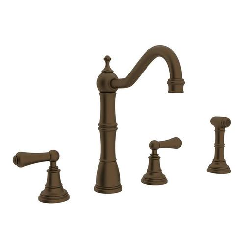 Edwardian 4-Hole Kitchen Faucet with Sidespray - English Bronze with Metal Lever Handle