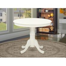 """Antique Table 36"""" Round with Linen White"""